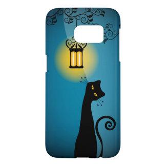 Schwarze Katze und Laterne