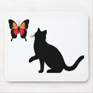 Schwarze Katze und Schmetterlings-Mausunterlage Mauspads