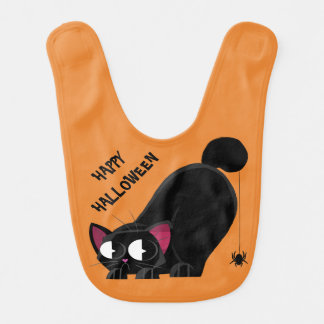 Schwarze Katze und Spinne Halloweens Babylätzchen