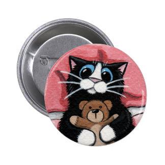 Schwarze Katze und Teddybär - Katzen-Kunst-Knopf Runder Button 5,7 Cm