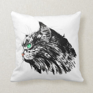 Schwarze Katze Wurfs-Kissen Kissen