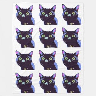 Schwarze Katzen-Fleece-Decke Fleecedecke