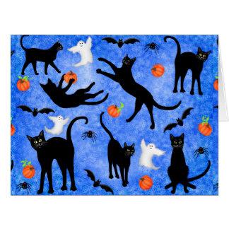 Schwarze Katzen-Geist-Schläger-große Gruß-Karte Karte