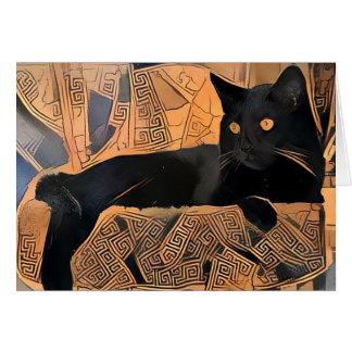 Schwarze Katzen-Gruß-Karte, Grieche inspiriert, Karte