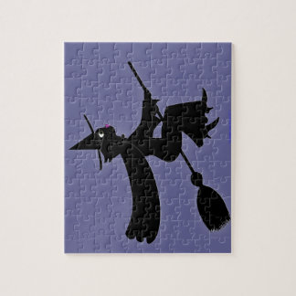 Schwarze Katzen-Hexe-Reitbesen