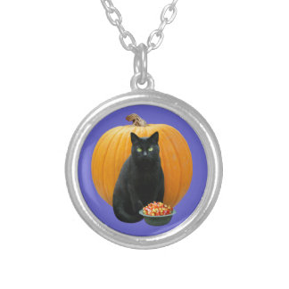 Schwarze Katzen-Kürbis-Halskette Versilberte Kette