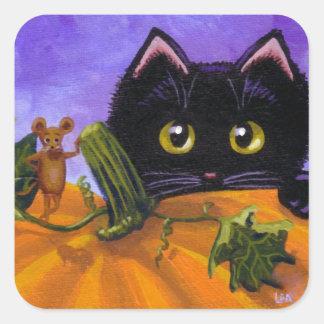 Schwarze Katzen-Maus Creationarts Fall-Halloweens Quadratischer Aufkleber