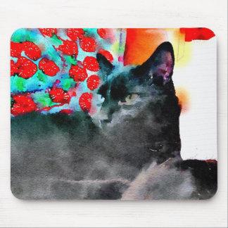 Schwarze Katzen-Mausunterlage Mousepad