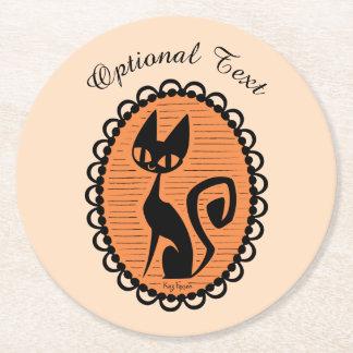 Schwarze Katzen-Miniatur Halloweens Runder Pappuntersetzer