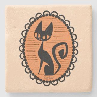 Schwarze Katzen-Miniatur Halloweens Steinuntersetzer