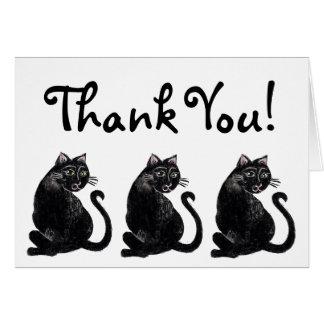 Schwarze Katzen-Muster danken Ihnen zu kardieren Karte