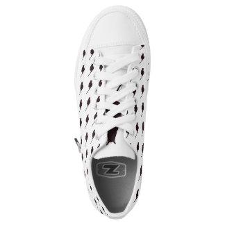 Schwarze Katzen-niedriger SpitzenLeinwand-Schuh Niedrig-geschnittene Sneaker