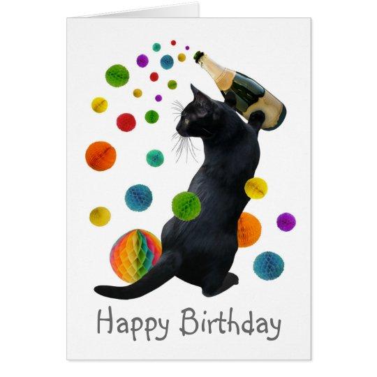 Schwarze Katzen-Papier-Ball-Geburtstags-Karte Grußkarte