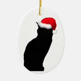 Schwarze Katzen-Sankt-Verzierung Ovales Keramik Ornament