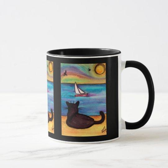 Schwarze Katzen-Segelboot-Uhr Tasse