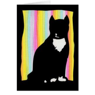 Schwarze Katzen-Silhouette-Gruß-Karte Karte