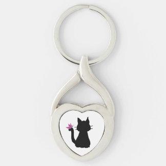 Schwarze Katzen-Silhouette-Rosa-Schmetterling Silberfarbener Herz Schlüsselanhänger