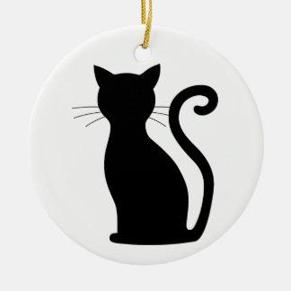 Schwarze Katzen-Silhouette-weißes Rundes Keramik Ornament