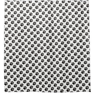 Schwarze Katzen-Tatzen-Druck-Weiß-Hintergrund Duschvorhang