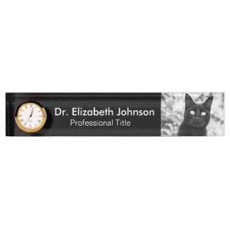 Schwarze Katzen-Tierarzt Schreibtischplakette