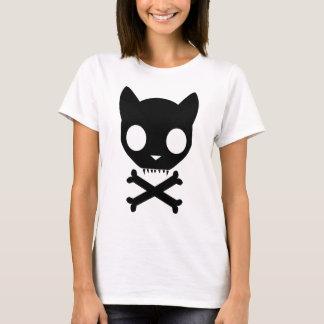 Schwarze Katzen-Totenkopf mit gekreuzter Knochen T-Shirt