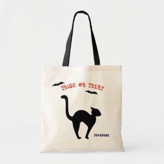 Schwarze Katzen-Trick-oder Leckerei-Taschen-Tasche Budget Stoffbeutel