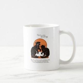 Schwarze Katzen-Vollmond-orange Schwarzes Kaffeetasse