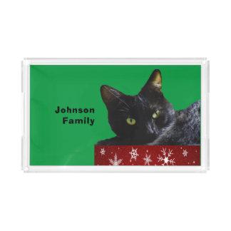 Schwarze Katzen-Weihnachten auf Acryl Tablett