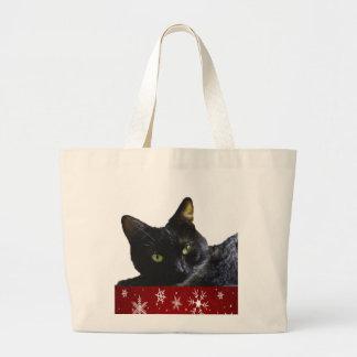 Schwarze Katzen-Weihnachtsriesige Taschen-Tasche Jumbo Stoffbeutel