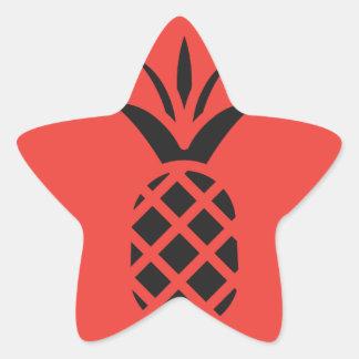 Schwarze Kiefer Apple im Rot Stern-Aufkleber