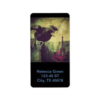 Schwarze Krähe Schmutz-Paris-Eiffelturmhalloweens Adressaufkleber