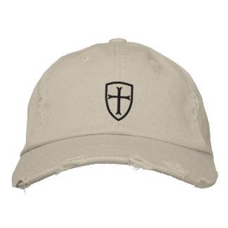 Schwarze Kreuzfahrer-Kreuz-Schild-Kappe Bestickte Baseballmütze