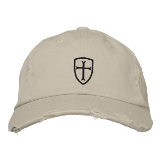 Schwarze Kreuzfahrer-Kreuz-Schild-Kappe Bestickte Kappe