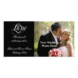 Schwarze kundengerechte Hochzeit danken Ihnen Photokarten