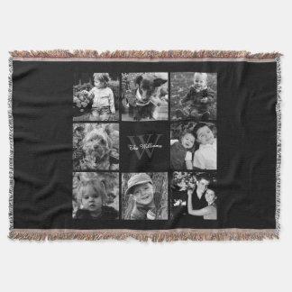 Schwarze kundenspezifische Familien-Foto-Collage Decke