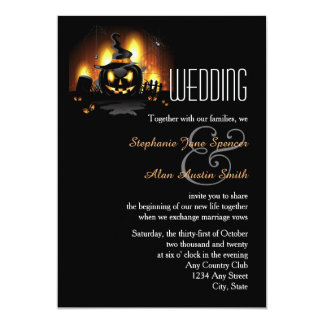 Schwarze Kürbis-Hochzeits-Einladung 12,7 X 17,8 Cm Einladungskarte