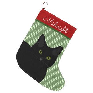 Schwarze kurze Haar-Katzen-grüne Augen Großer Weihnachtsstrumpf