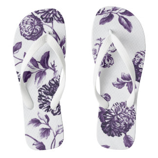Schwarze Maulbeere lila botanisches BlumenToile Flip Flops