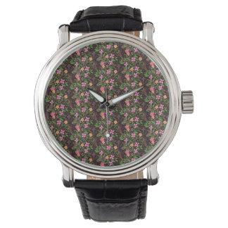 Schwarze mit Blumenuhr-Vintages Leder Armbanduhr