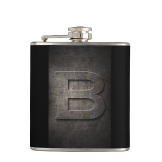 Schwarze Monogramm-Bronzeflasche des Metallb Flachmann