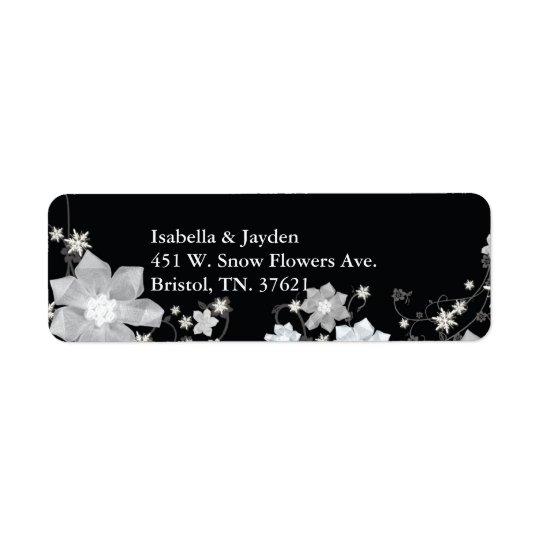 Schwarze n-weiße Blumenwinter-Hochzeits-Adresse Rücksendeetiketten