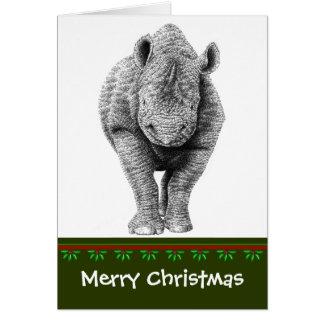 Schwarze Nashorn-Weihnachtskarte Karte