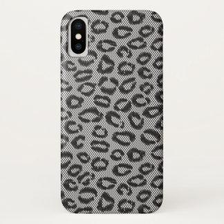 Schwarze Nettospitze mit Leopardmuster auf Weiß iPhone X Hülle