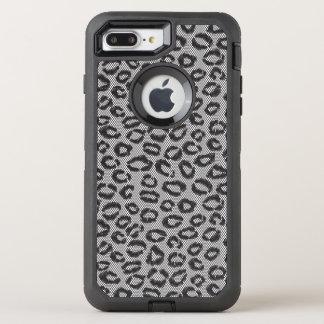 Schwarze Nettospitze mit Leopardmuster auf Weiß OtterBox Defender iPhone 8 Plus/7 Plus Hülle