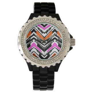 Schwarze, orange und rosa Hand gezeichnetes Armbanduhr