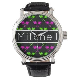 Schwarze Palmen personalisiert Armbanduhr