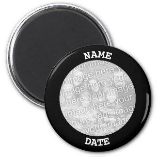 Schwarze personalisierte runde Foto-Grenze Runder Magnet 5,7 Cm