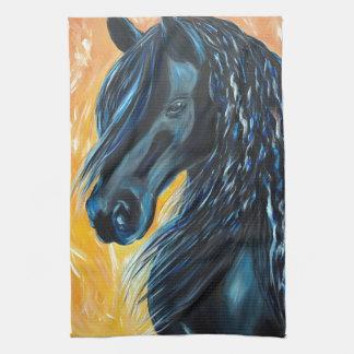 Schwarze Pferdemalerei Handtuch