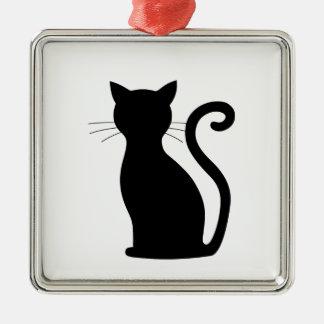 Schwarze Quadratisches Silberfarbenes Ornament