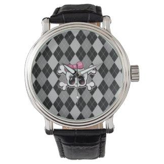 Schwarze Rautendamen-Schädeluhr Armbanduhr